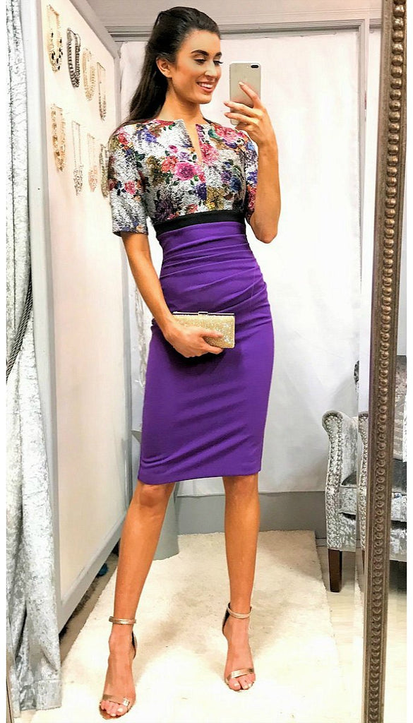 5-5301 Jacquard Contrast Pencil Dress ---- (SIZE 12 ONLY)