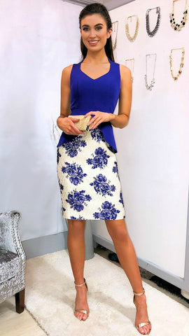 5319 Blue Mariposa Bardot Dress