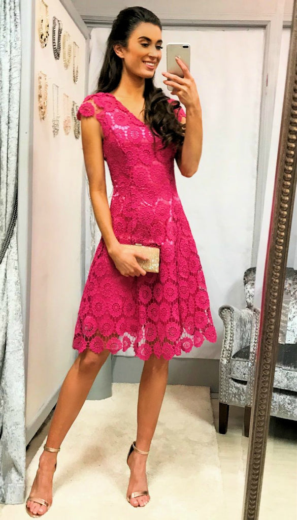 5-5319 Pink Crochet Daisy Flare Dress --- (SIZE 14 ONLY)