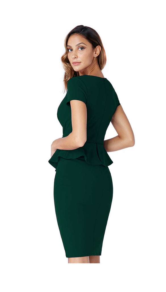 5-5326 - (SIZE 10,16 ONLY) - Green Peplum Fitted Dress
