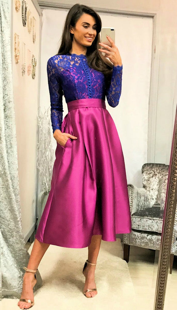 0574bc80e2 5-5327 - (SIZE 14 ONLY) - Blue Pink Lace Bodice Flare ...
