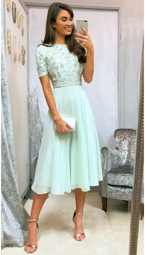 5329 Mint Embellished Flare Dress
