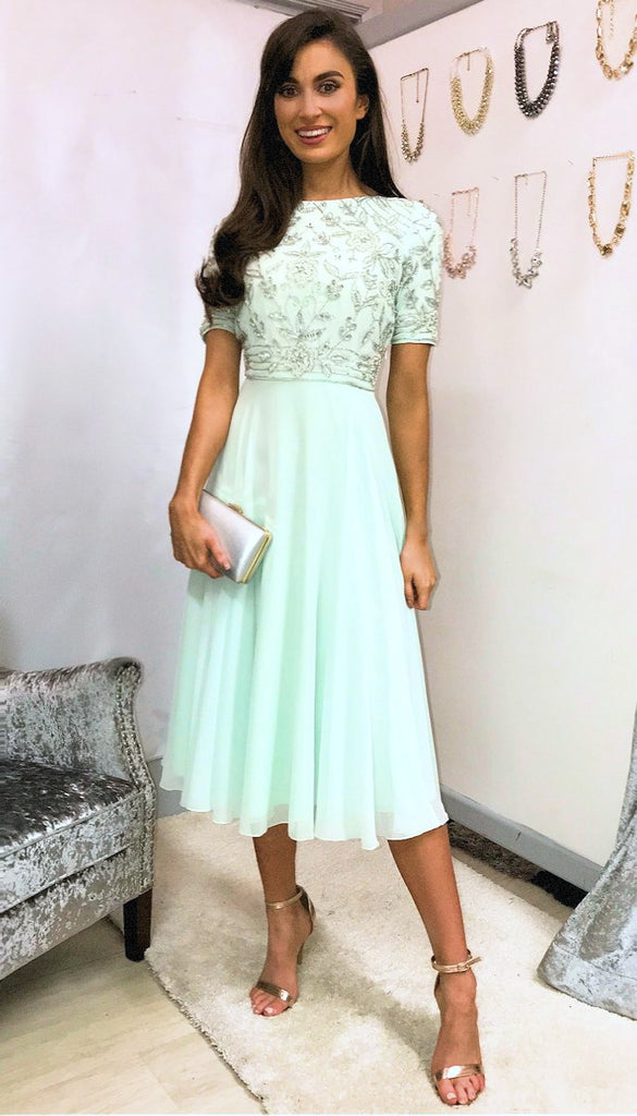 5-5329 Mint Embellished Flare Dress --- (SIZE 20 ONLY)