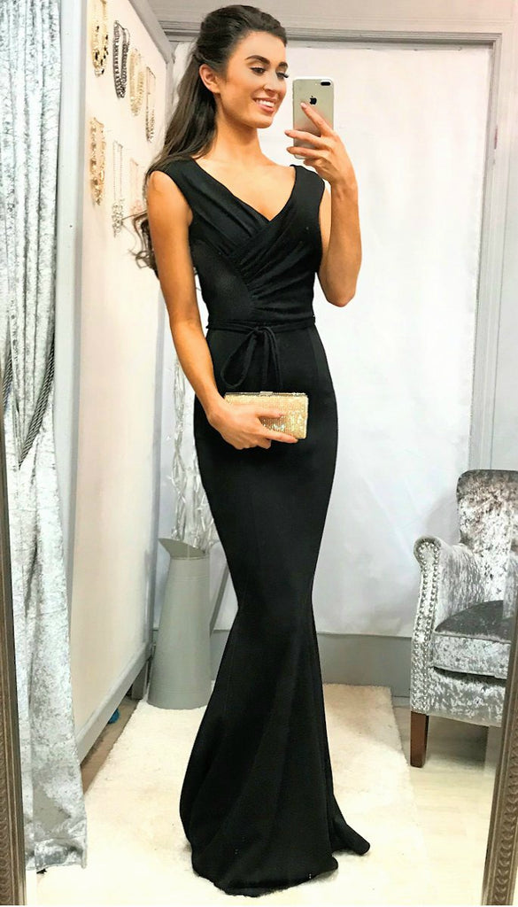 5-5330 - (SIZES 12 ONLY) Black Tie Waist Maxi Dress