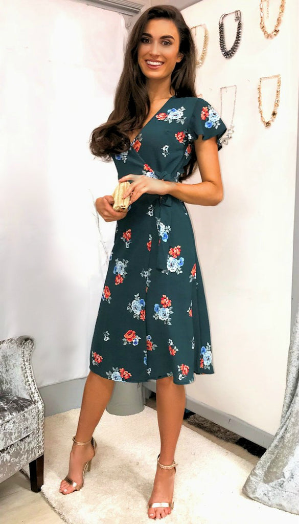 5336 Green Floral Print Wrap Dress