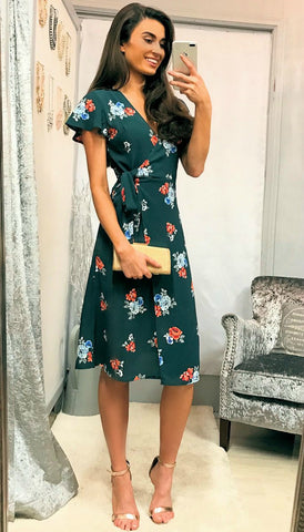5273 Green Lace Midi Flare Dress
