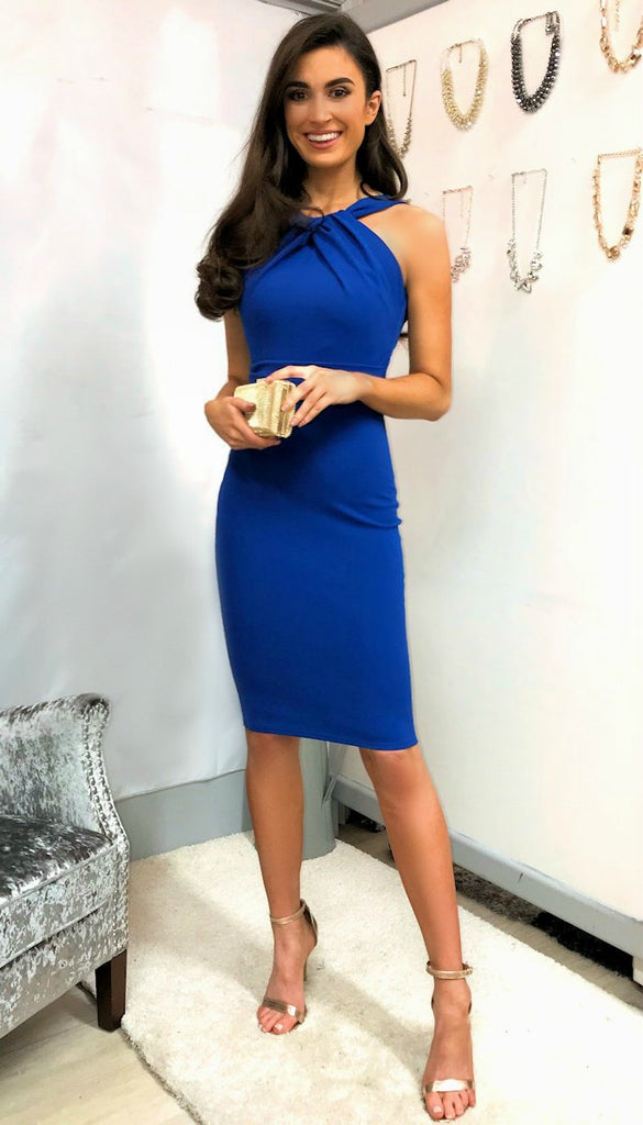5337 Blue Pleated Halter Style Dress --- (SIZES 12.14)