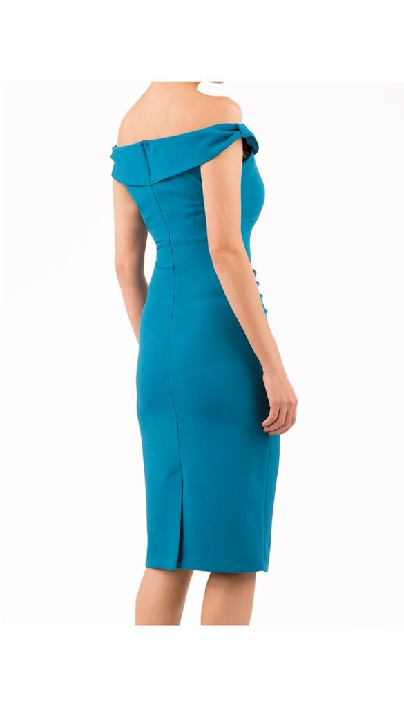 5-5338 - (SIZE 8 ONLY) - Teal Blue CLOUD Pencil Dress