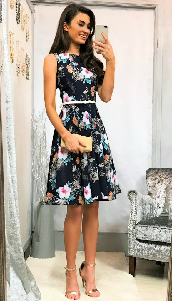 5341 Navy Floral Belted Flare Dress