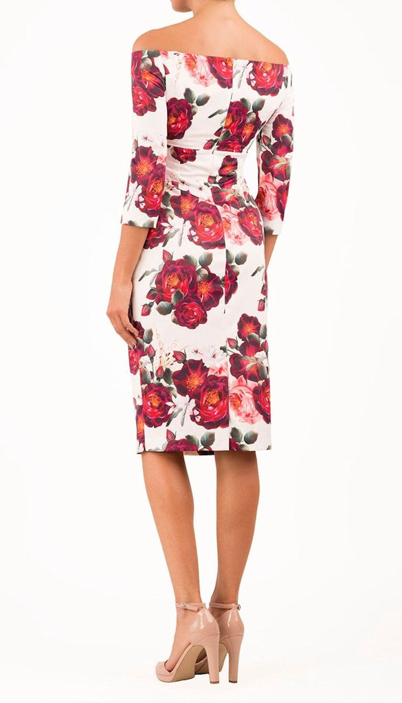 5342 - (SIZES 8,14,16) - Rose Print Bardot Pencil Dress