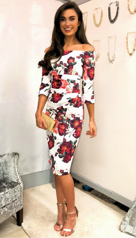 5325 Colourful Printed Peplum Midaxi Dress