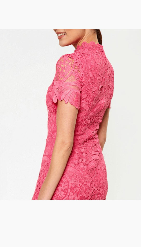 5345 Pink High Neck Crochet Dress