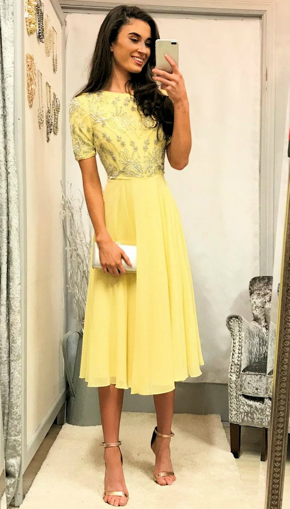 5-5346 Yellow Embellished Flare Dress --- (SIZES 14 ONLY)