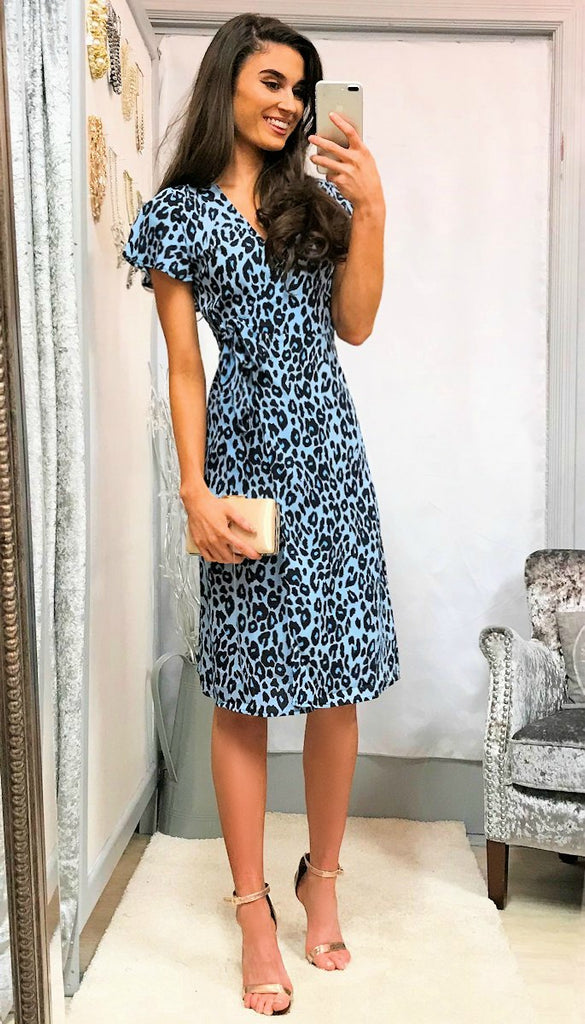 4-5352 - (SIZES 8 ONLY) - Animal Print Wrap Dress
