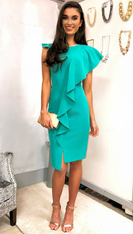 5344 Teal Jacquard Fit & Flare Dress