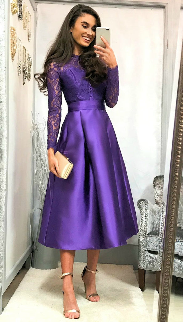 5-5359 - (SIZE 16 ONLY) - Purple Lace Bodice Flare Dress