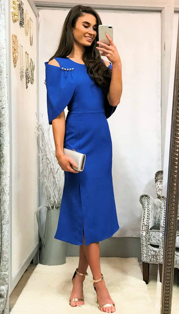 5365 Blue Faux Cape Detail Dress