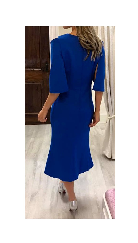 5-5365 - (SIZES 8,16 ONLY) - Blue Faux Cape Detail Dress