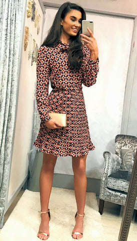 5409 Red Contrast Print Dress