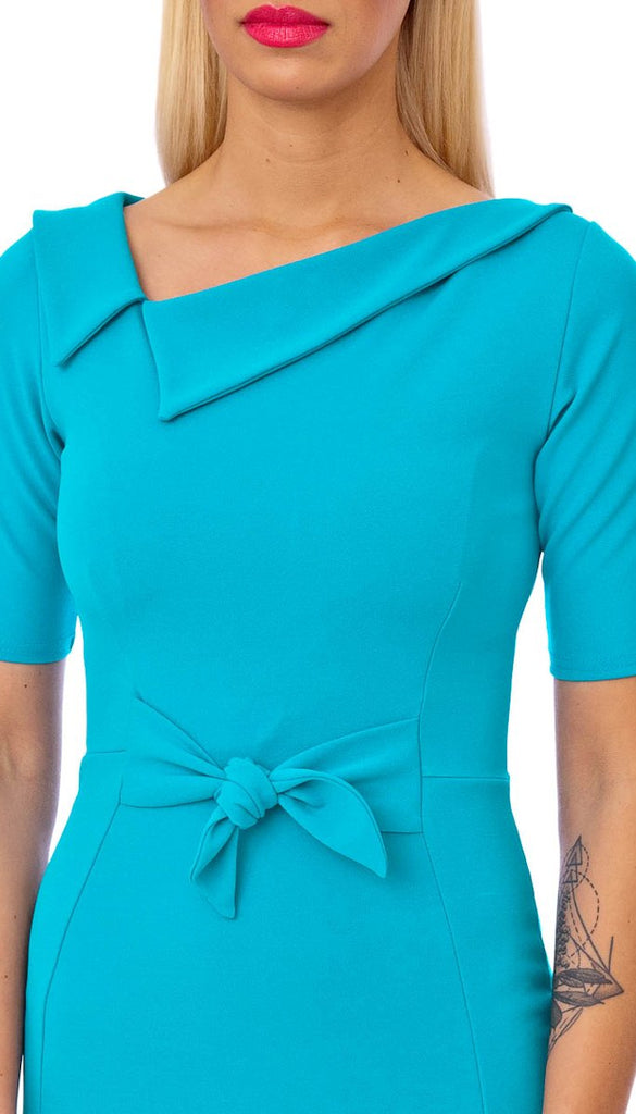 5371 Turquoise Collar Detail Dress