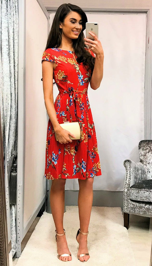 5-5375 - (SIZE 12/14 ONLY) - Red Floral Pleat Dress