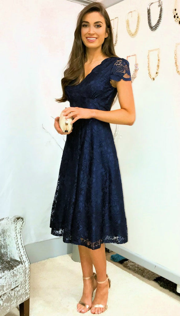5-5376 - (SIZE 10 ONLY) - Navy Lace Midi Flare Dress