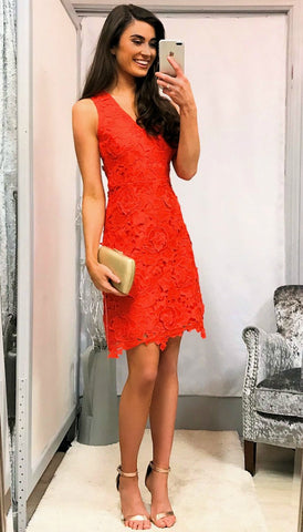 5411 Orange Bow Shoulder Dress ---- (SIZES 14,16)