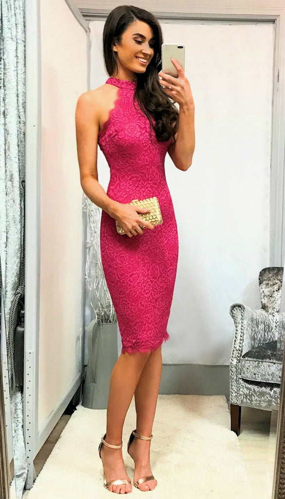 5380 - (SIZES 12,14,16) - Fuschia Lace Halter Neck Dress