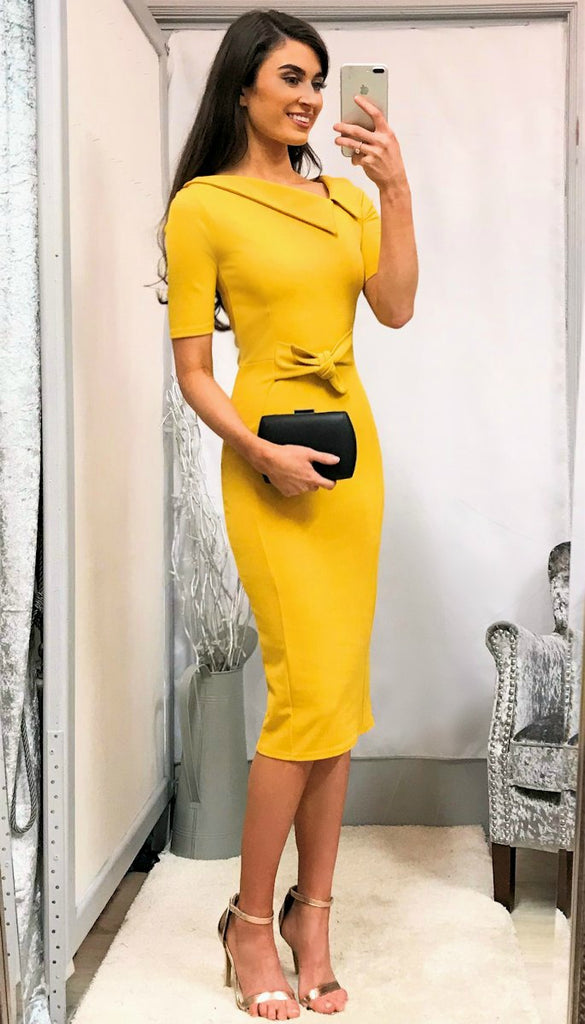 5387 - (SIZES 14,16,18) - Mustard Yellow Collar Detail Dress