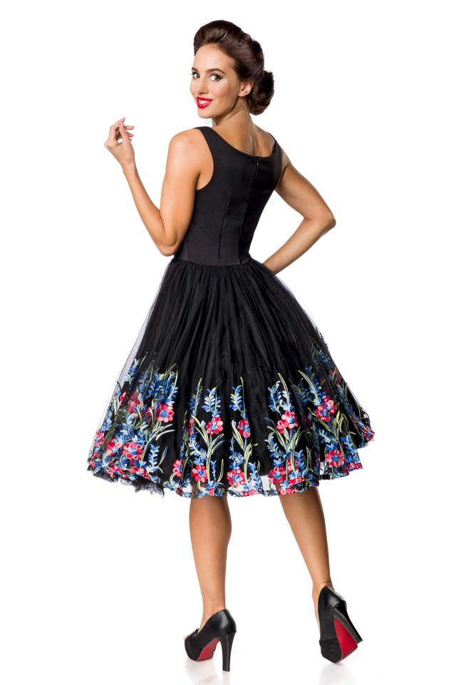 5392 Black Tulle Fit & Flare Dress