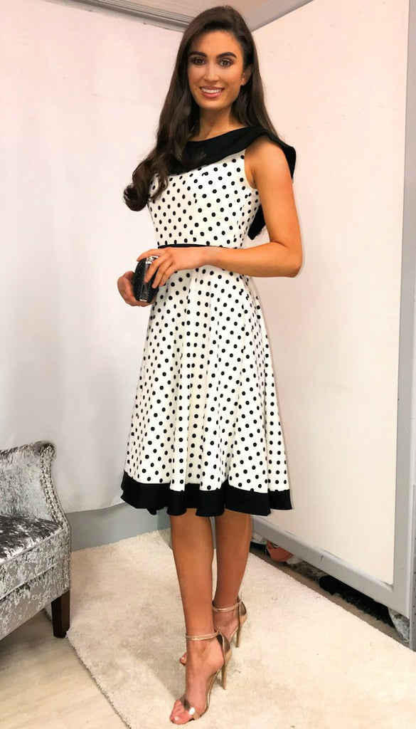 5-5396 - (SIZES 8,18 ONLY) - Polka Dot Vintage Swing Dress
