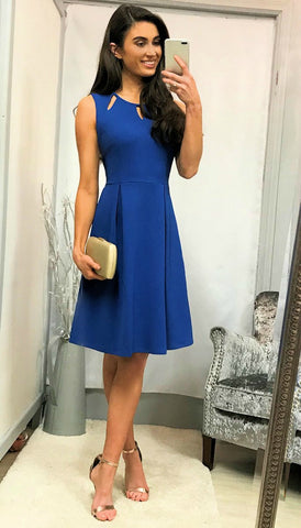 4-5097 Navy & Nude Donna Midi Dress ---- (SIZES 12,14 ONLY)