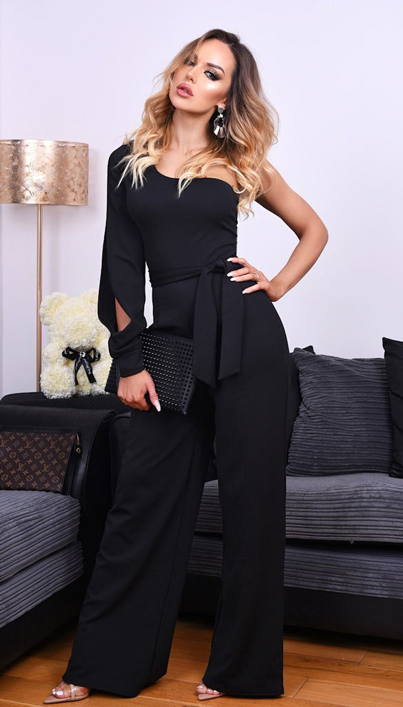 5-5414 (SIZES 8) - One Shoulder Jumpsuit Black