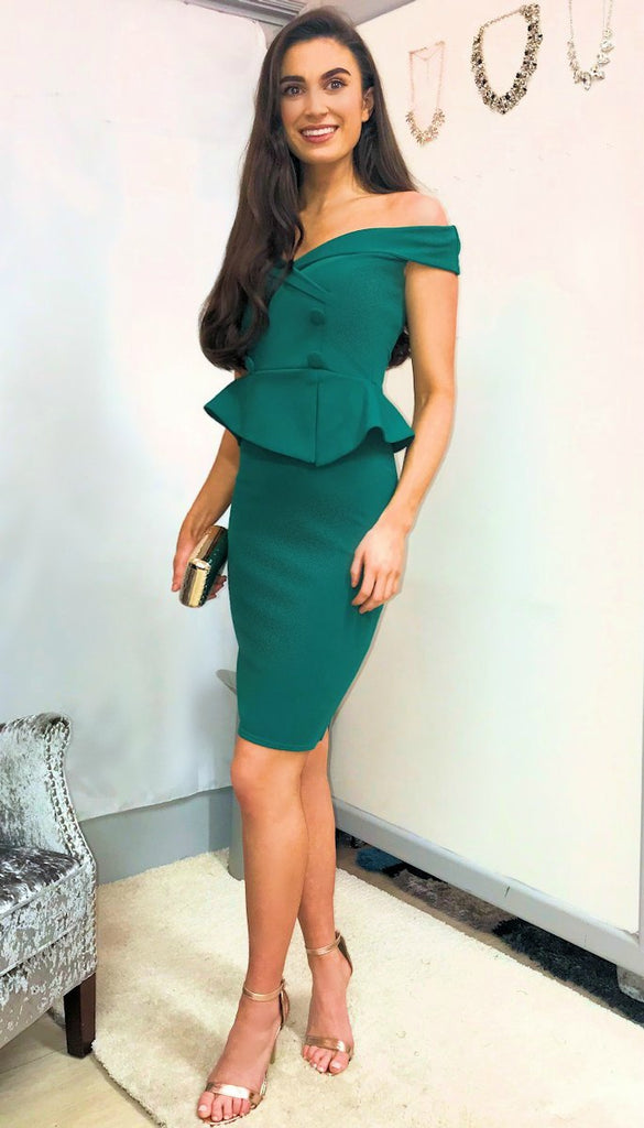 4-5418 - (SIZE 6 ONLY) - Green Bardot Peplum Dress