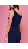 5-5423 (SIZES 8,16 ONLY) - Navy Bow Front Jumpsuit