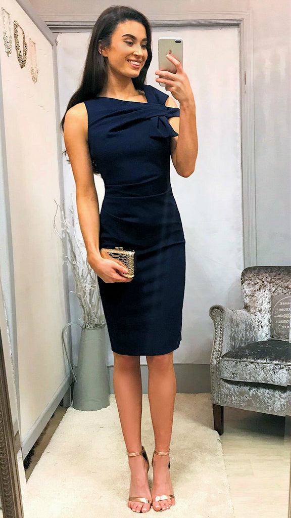 5-5425 - (SIZES 14,16 ONLY) - Navy Bow Shoulder Dress