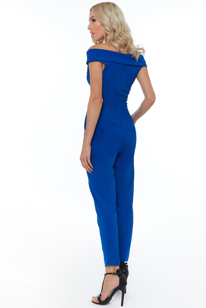 4-5428 - (SIZE 6 ONLY) - Royal Bardot Button Jumpsuit