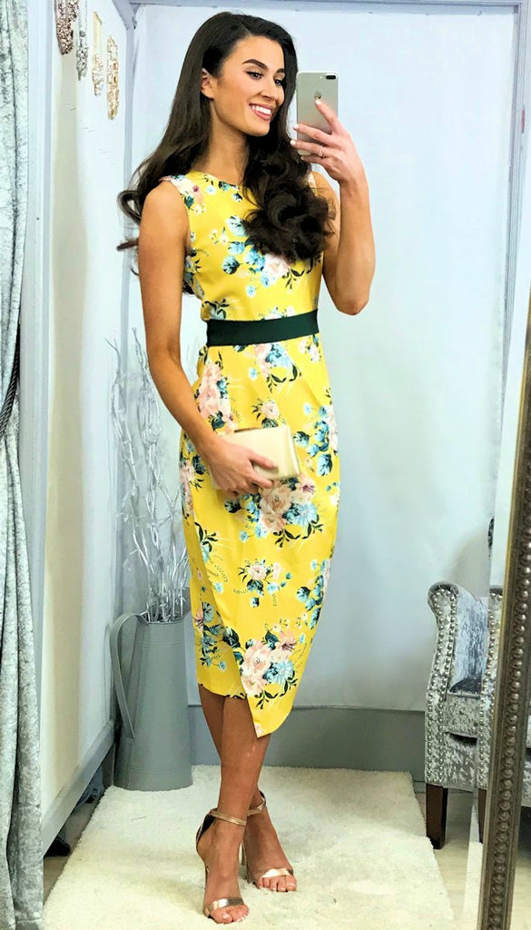 5452 Rouched Yellow Floral Dress
