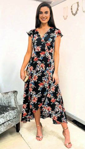 5-5374 - (SIZES 18 only) - Floral Flattering Wrap Dress