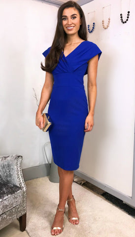 5378 Belted Midi Dress Cobalt Blue