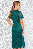 4-5487 - (SIZE 16 ONLY) - Green Lace Drape Dress