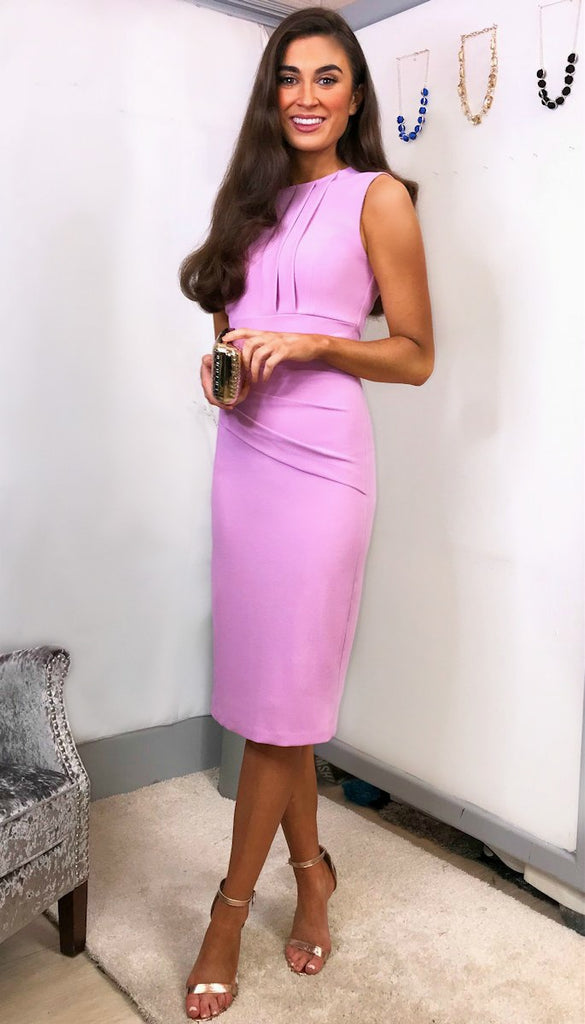 4-5490 - (SIZE 16 ONLY) - Dawn Pink Pleat Pencil Dress