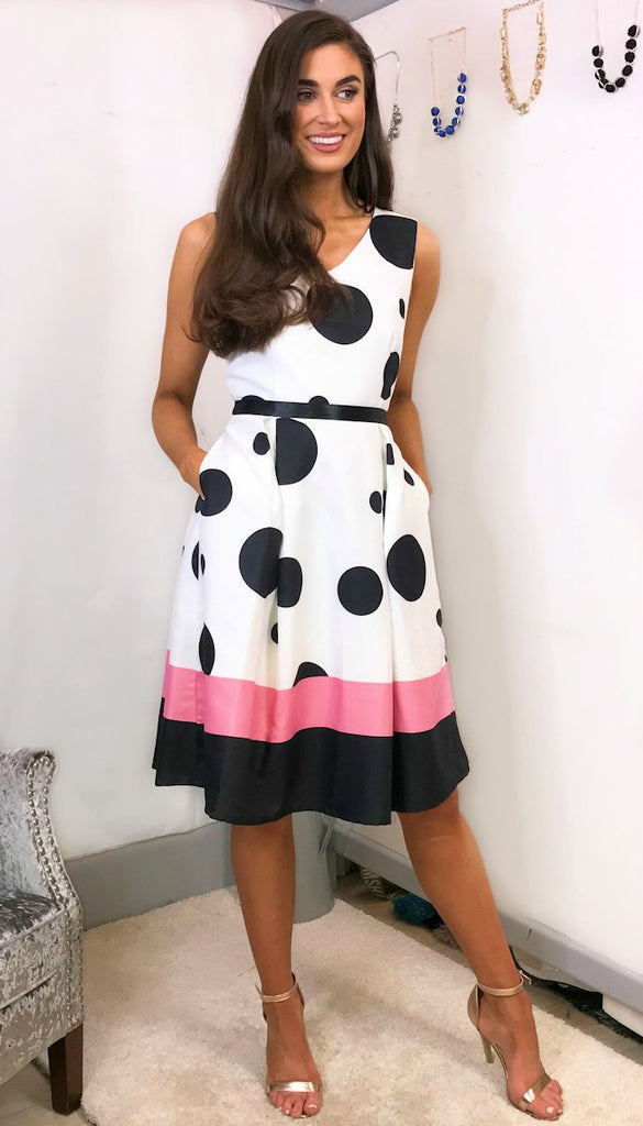5504 Polka Dot Fit & Flare Dress