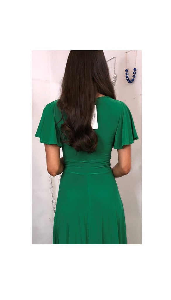 5-5523 Green Wide Sleeve Flare Dress