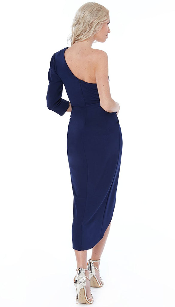 5-5531 - (SIZE 8 ONLY) - Navy One Shoulder SASSY Dress
