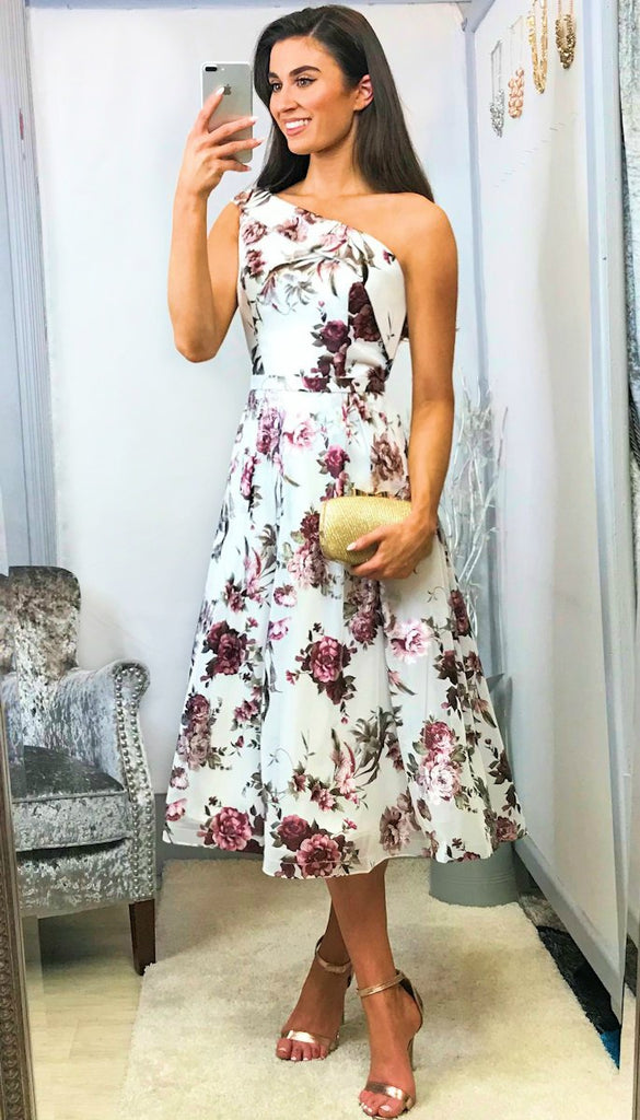 4-5544 Mia Floral Flare One Shoulder Dress