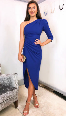 5-5378 - (SIZES 8,14 ONLY) - Belted Midi Dress Cobalt Blue