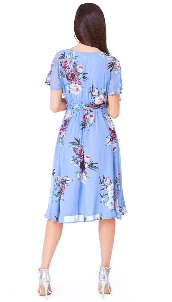 5-5609 - (SIZE 14 ONLY) - Sarah Blue Floral Chiffon Dress