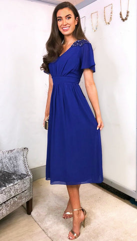 5-5622 - (SIZES 14,16 ONLY) - Eliana Blue Bardot Dress