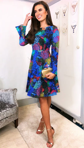 5678 - (SIZES 8,10,16) - Autumn Spot Batwing Dress